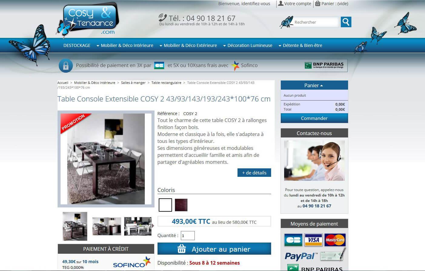Création site e-commerce vente de meubles