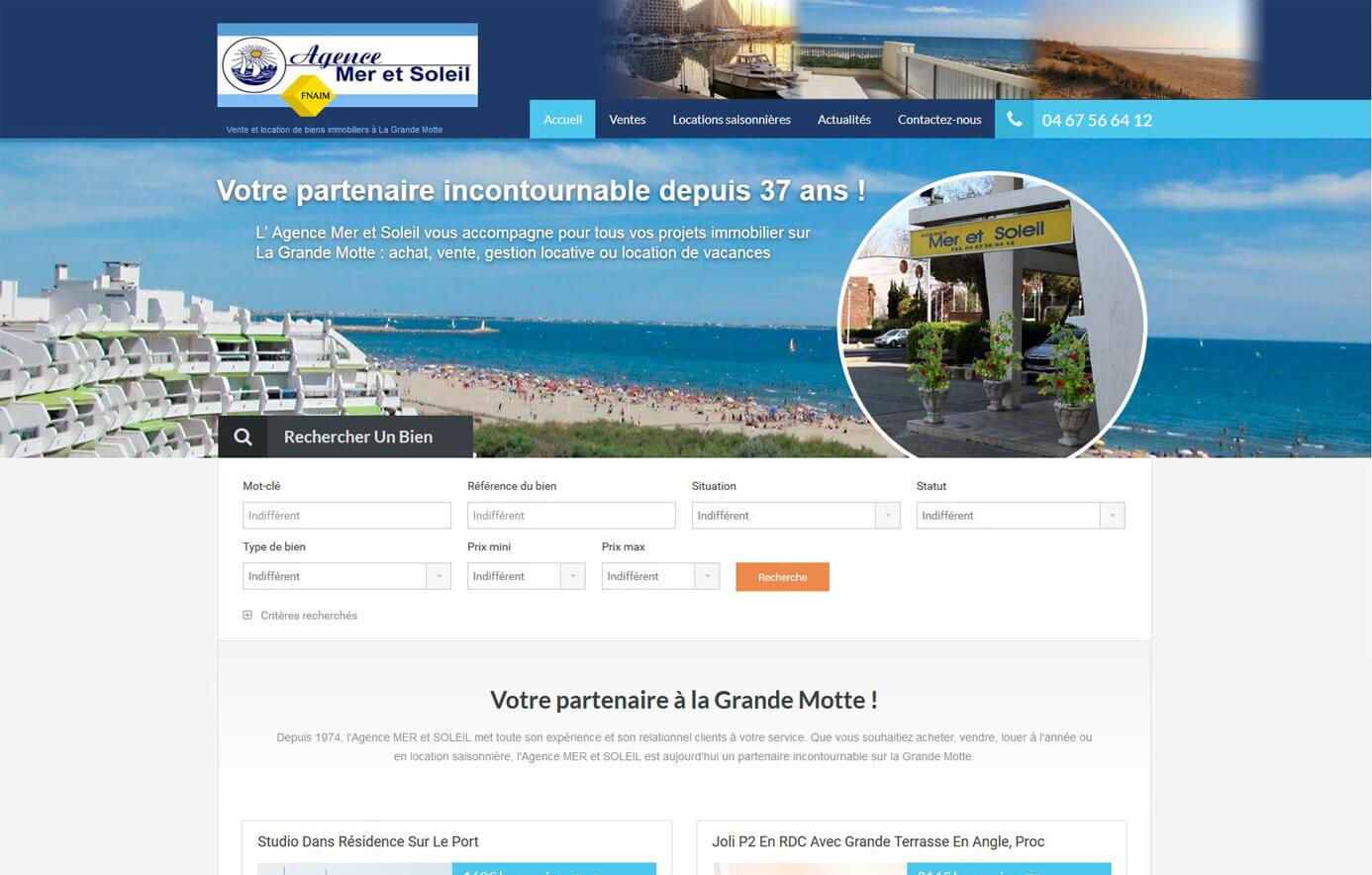 Création site immobilier La Grande Motte Hérault